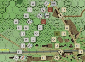 Playtest scenario. Developer Brendan Clark's 3 SS PzGr pushes back the US line.