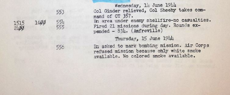 Entry from 343FA's battalion journal, 15 June 1944 explaining the difficulty in coordinating with the Army Air Corps during the 3/357's attack on Gourbesville. No colored smoke! D'oh!