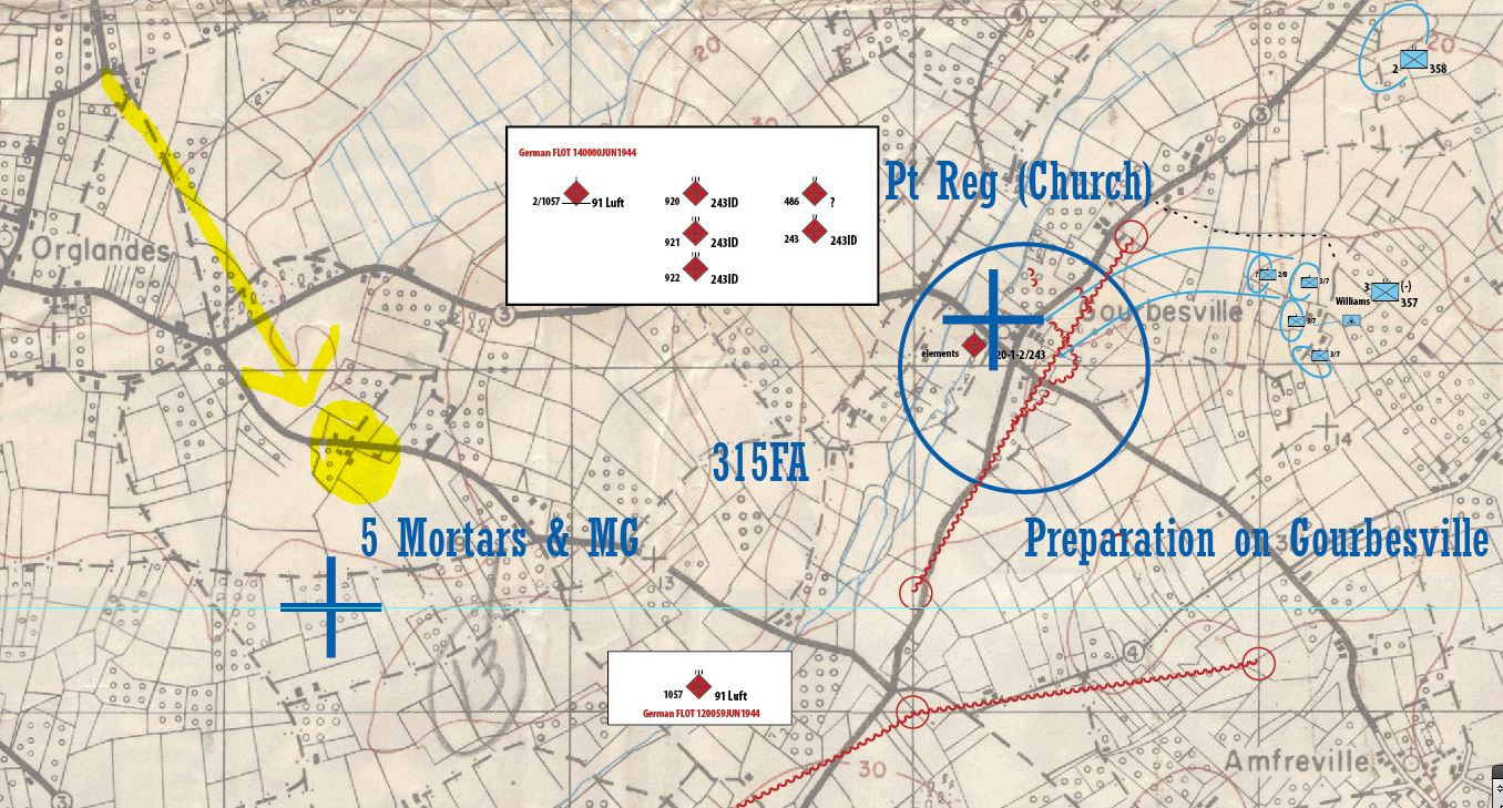 Part of 315 FA's fire plan supporting the capture of Gourbesville. Our summer quarters highlighted in yellow.