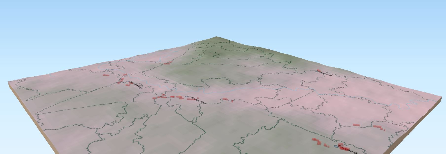 Catchments prior to calculating flood plain. Using QGIS/GRAS, SRTM30 DEM, and OSM as stream centerline.