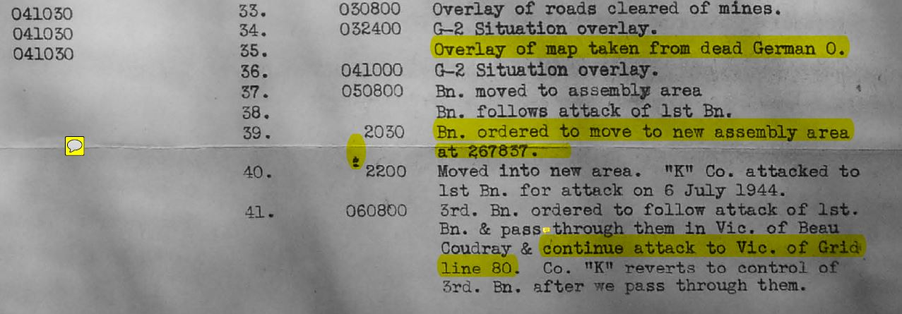 Excerpt from 3/357's operations journal. Note paragraph 41.