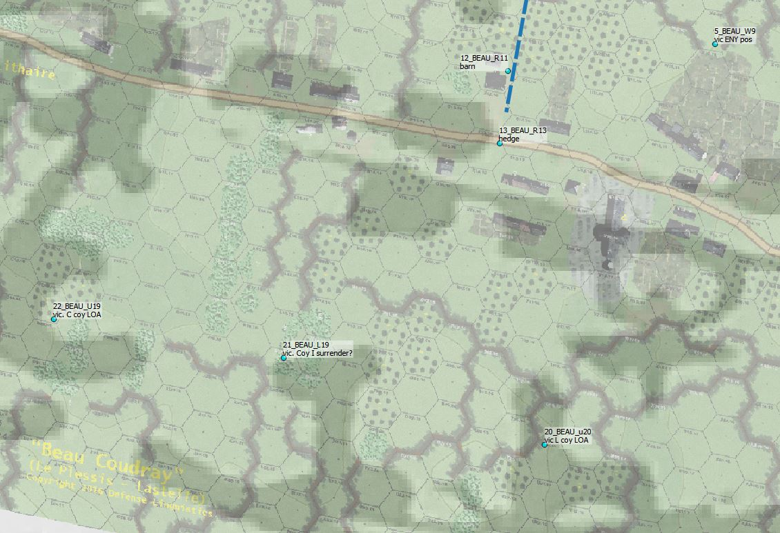 The FTGU game map depiction of the same area overlain with Ely's map.