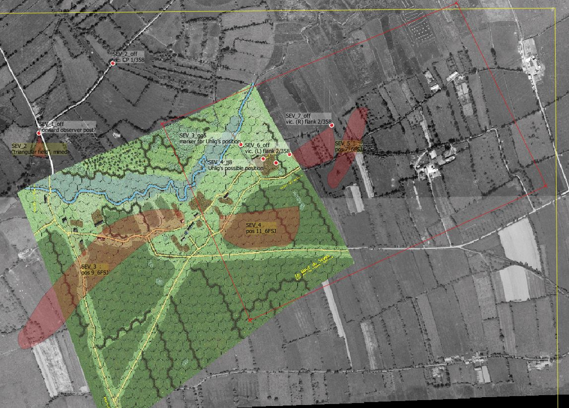 Current game map projected upon aerial photograph. The red box to be covered in the revision.