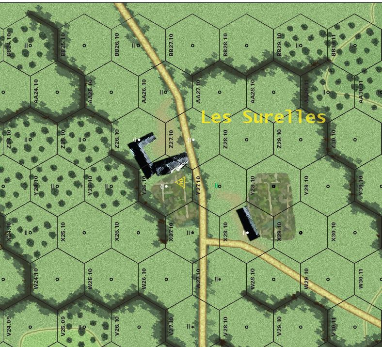 Les Surelles on the Gourbesville map, the site of my interview with Mr. Levavasseur this past June.