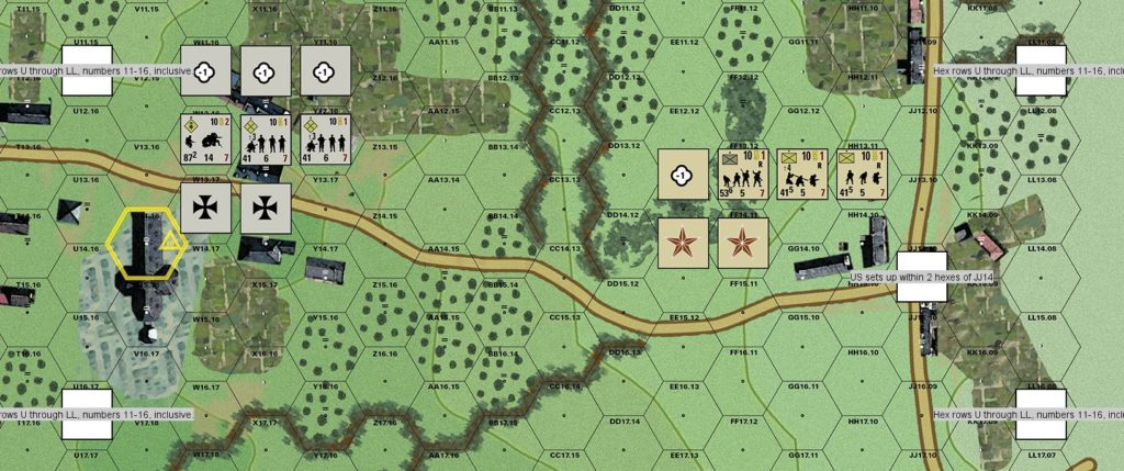 US sets up within two hexes of crossroads.